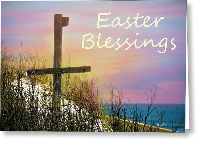Sandi Oreilly Greeting Cards - Easter Blessings Cross Greeting Card by Sandi OReilly