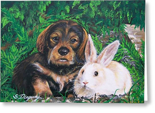 Puppies Paintings Greeting Cards - Wonder of Spring  Greeting Card by Sharon Duguay