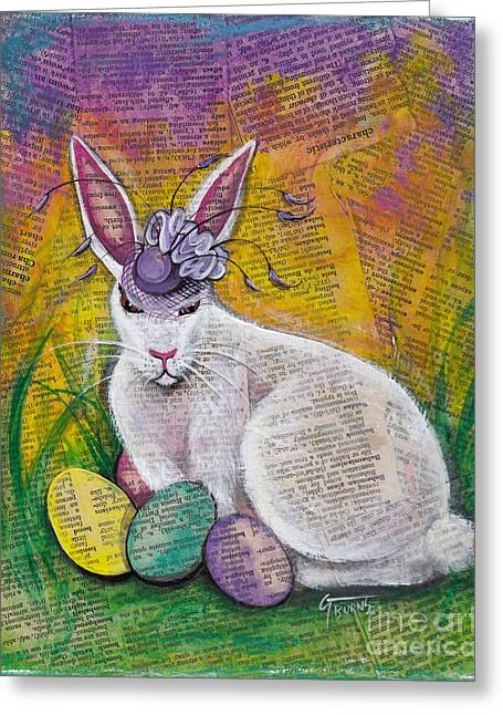 Trial Mixed Media Greeting Cards - Easter Bunny Bonnet Greeting Card by GG Burns