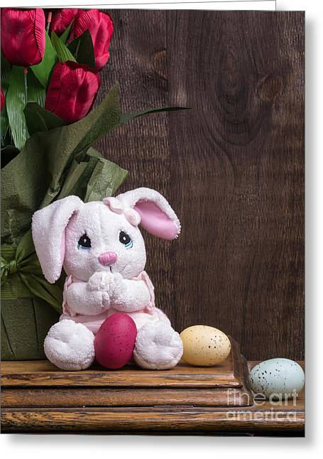 Background Greeting Cards - Easter Bunny Card Greeting Card by Edward Fielding