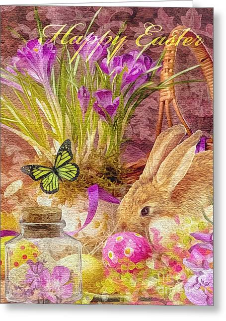 Mo T Mixed Media Greeting Cards - Easter Bunny Greeting Card by Mo T