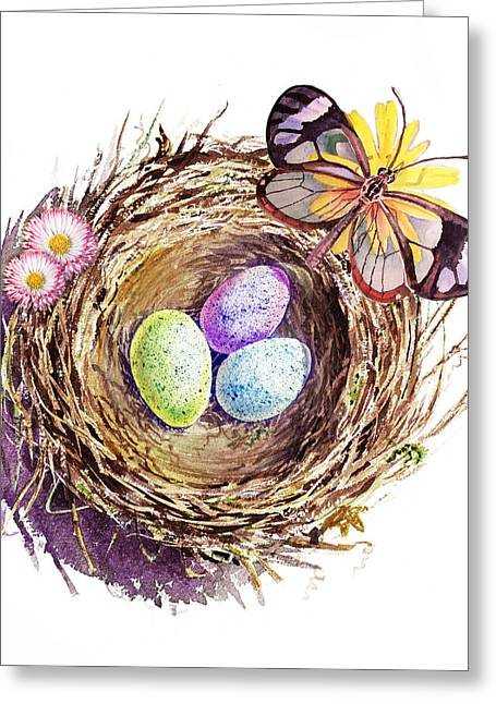 Shadow Art Greeting Cards - Easter Colors Bird Nest Greeting Card by Irina Sztukowski