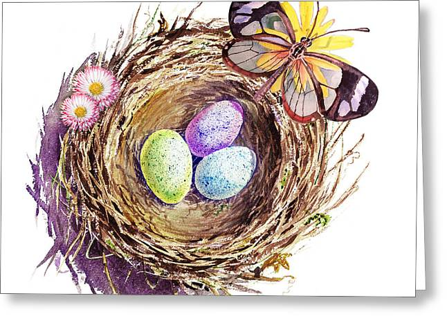 Robin Greeting Cards - Easter Colors Bird Nest Greeting Card by Irina Sztukowski