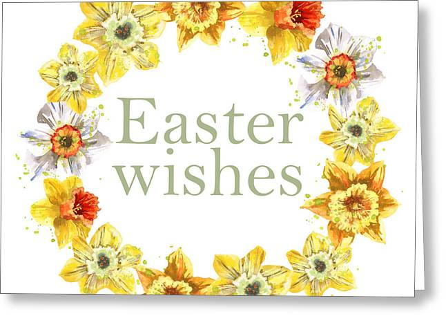 Daffodils Paintings Greeting Cards - Easter Daffodils Greeting Card by Alison Fennell