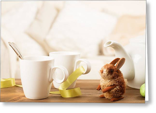 White China Cup Greeting Cards - Easter Drinks Greeting Card by Amanda And Christopher Elwell