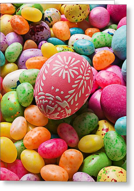 Occasion Greeting Cards - Easter egg and jellybeans  Greeting Card by Garry Gay