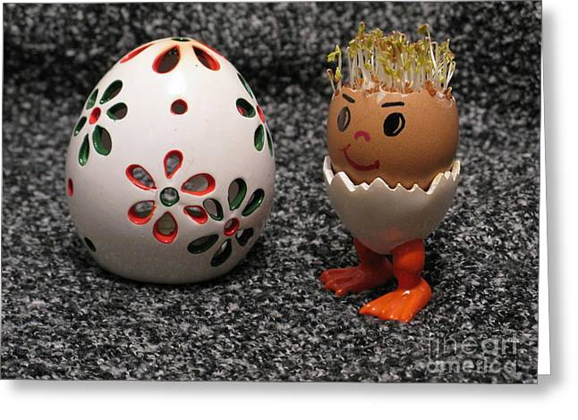 Eggheads Greeting Cards - Easter Eggmen or Egg With Hair Series. 01 Greeting Card by Ausra Paulauskaite