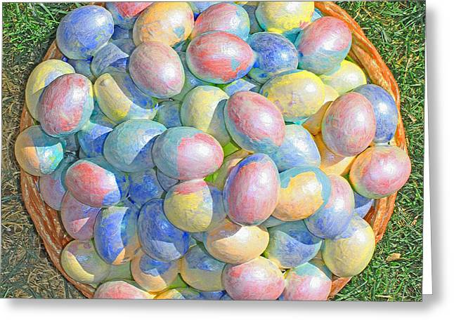 Color Green Sculptures Greeting Cards - Easter  Eggs  For  Grandchildren  2013 Greeting Card by Carl Deaville