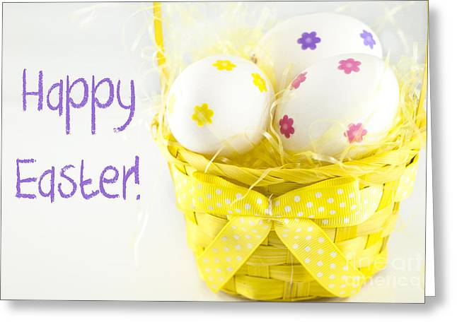 Basket Photographs Greeting Cards - Easter Eggs in Basket Greeting Card by Juli Scalzi