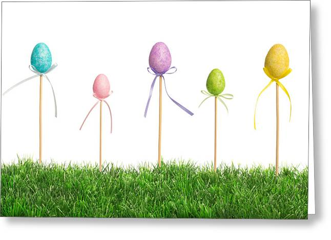 Easter Egg Greeting Cards - Easter Eggs In Grass Greeting Card by Amanda And Christopher Elwell