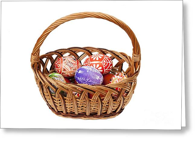 Pannier Greeting Cards - Easter Eggs in wicker basket Greeting Card by Michal Boubin