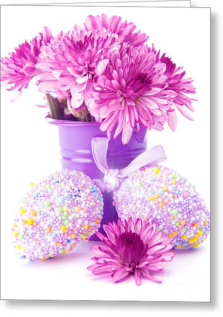 Indoor Still Life Greeting Cards - Easter eggs with pink flowers Greeting Card by Anna Omelchenko