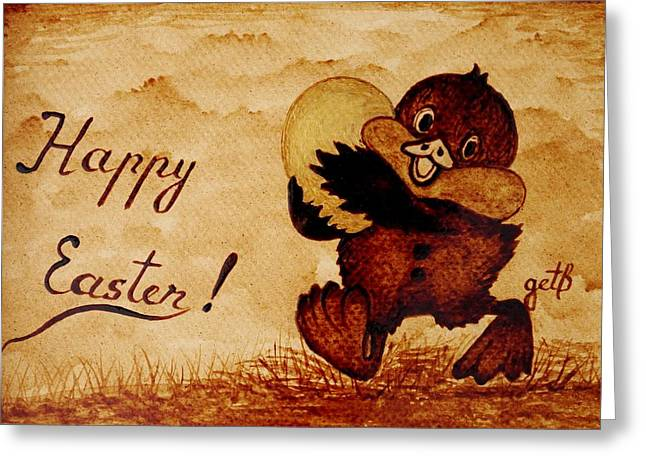 Golden Egg Greeting Cards - Easter Golden Egg Coffee Painting Greeting Card by Georgeta  Blanaru