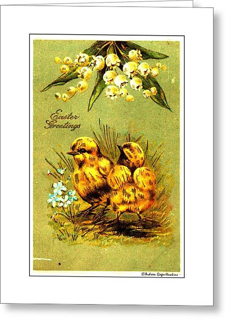 1907 Digital Greeting Cards - Easter Greetings 1907 Vintage Postcard Greeting Card by Audreen Gieger-Hawkins