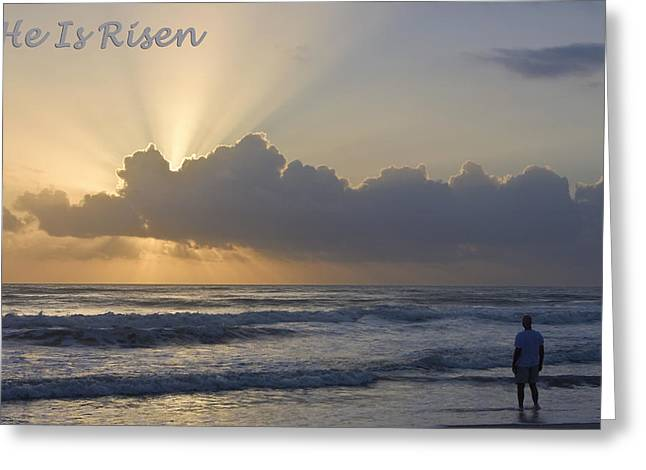 Gospel Of Matthew Greeting Cards - Easter He Is Risen Greeting Card by Dawn Currie