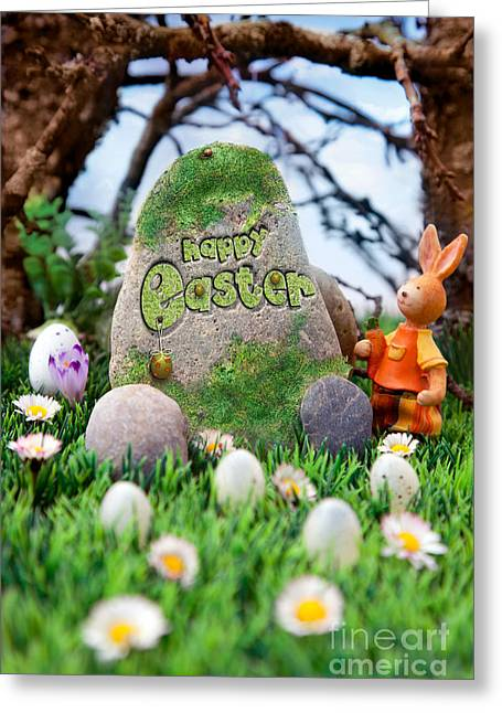 Mythja Digital Art Greeting Cards - Easter hunt flyer with bunny Greeting Card by Mythja  Photography