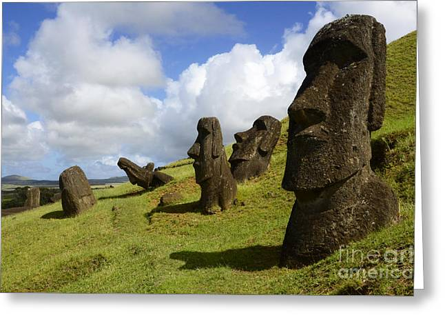 Moai Greeting Cards - Easter Island 1 Greeting Card by Bob Christopher