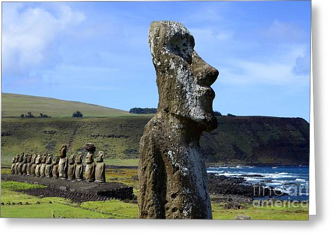 Moai Greeting Cards - Easter Island 13 Greeting Card by Bob Christopher