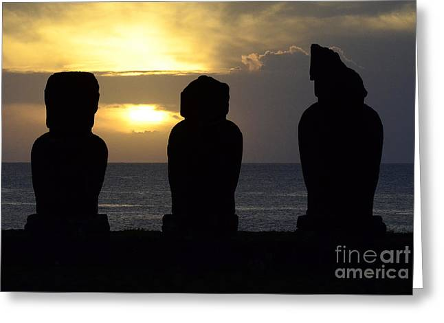 Moai Greeting Cards - Easter Island 19 Greeting Card by Bob Christopher