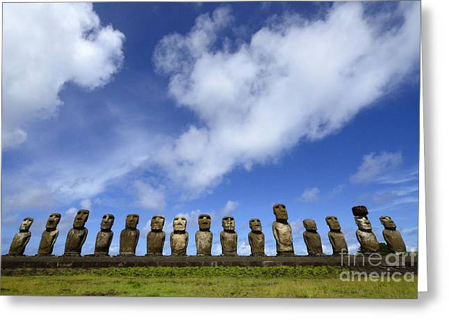 Moai Greeting Cards - Easter Island 5 Greeting Card by Bob Christopher