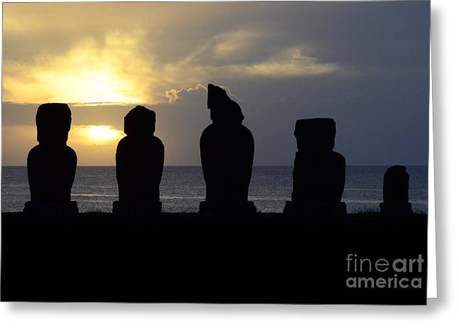 Moai Greeting Cards - Easter Island 7 Greeting Card by Bob Christopher