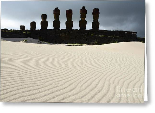 Moai Greeting Cards - Easter Island 9 Greeting Card by Bob Christopher
