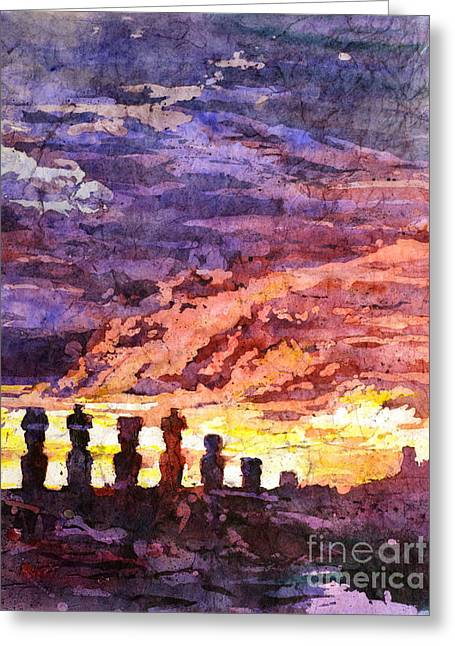 Easter Pictures Greeting Cards - Easter Island Batik Greeting Card by Ryan Fox