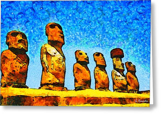 Statue Portrait Paintings Greeting Cards - Easter island Greeting Card by George Rossidis