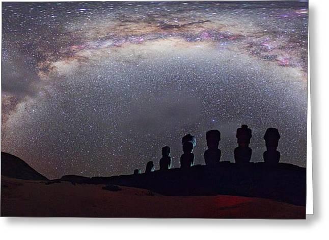 Easter Island Moai And Milky Way Greeting Card by Juan Carlos Casado (starryearth.com)