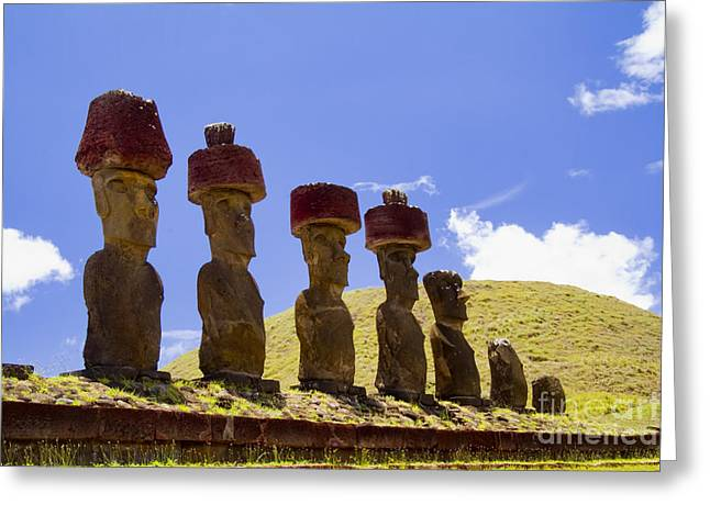 Historic Site Greeting Cards - Easter Island Statues  Greeting Card by David Smith