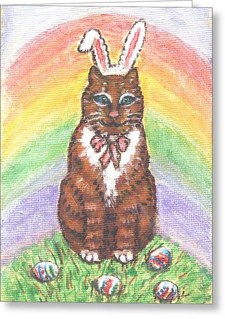 Kittens Greeting Cards - Easter Kitty Greeting Card by Linda Mears