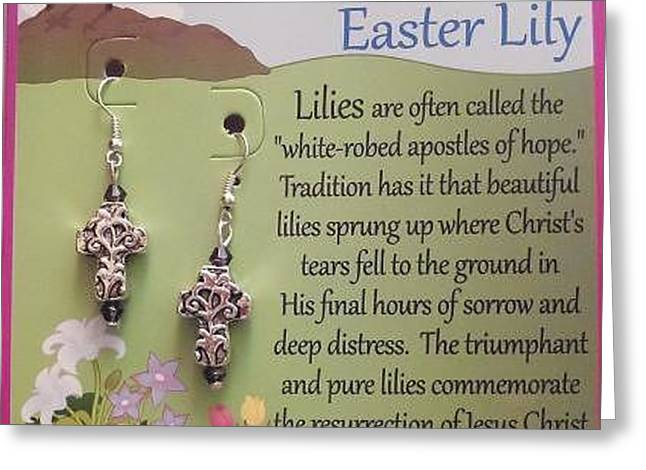 Cross Jewelry Greeting Cards - Easter Lily Cross Earrings Greeting Card by Kimberly Johnson