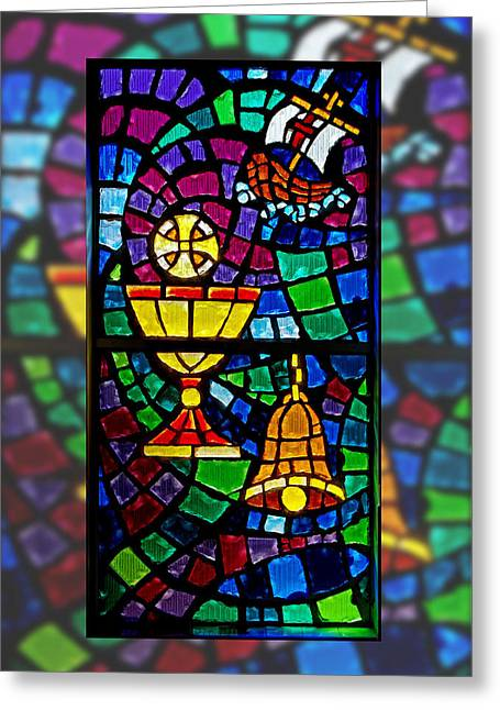 Easter Stained Glass Greeting Card by Dawn Currie