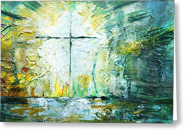 Bible Paintings Greeting Cards - Easter Sunday Greeting Card by AJ Warren