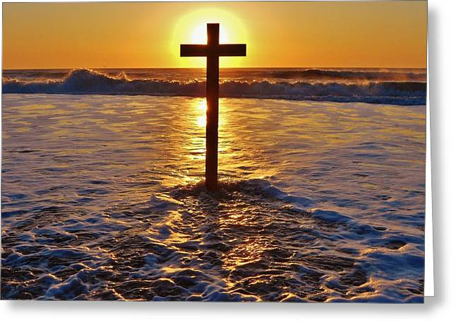 Snow Boarder Greeting Cards - Easter Sunrise Cross Outer Banks 1 Greeting Card by Mark Lemmon