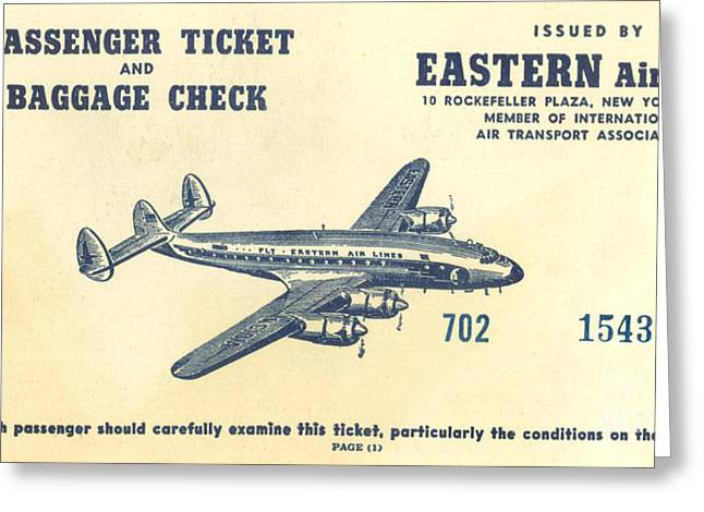Eastern Air Lines Greeting Cards - Eastern Air Lines Ticket Greeting Card by Dale Powell