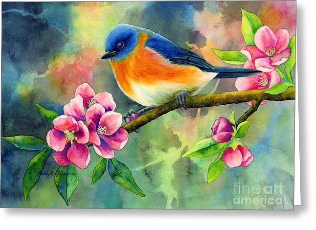 Eastern Bluebird Greeting Cards - Eastern Bluebird Greeting Card by Hailey E Herrera