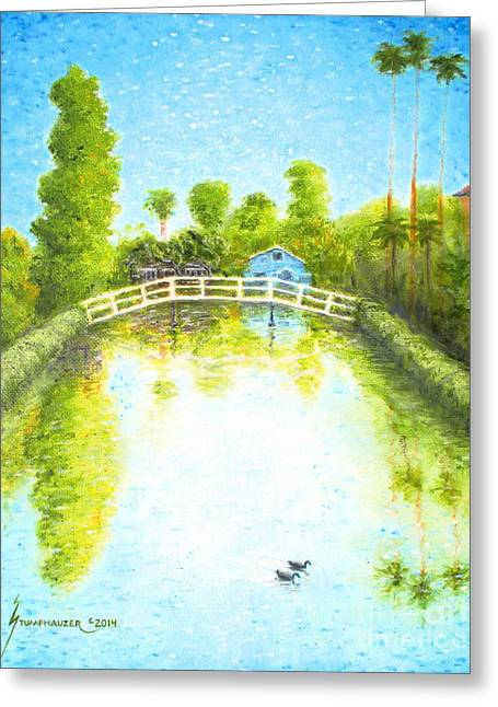 Blue Green Water Greeting Cards - Eastern Canal Venice California Greeting Card by Jerome Stumphauzer