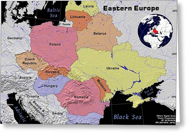 Eastern Europe Exotic Map Greeting Card by Florene Welebny