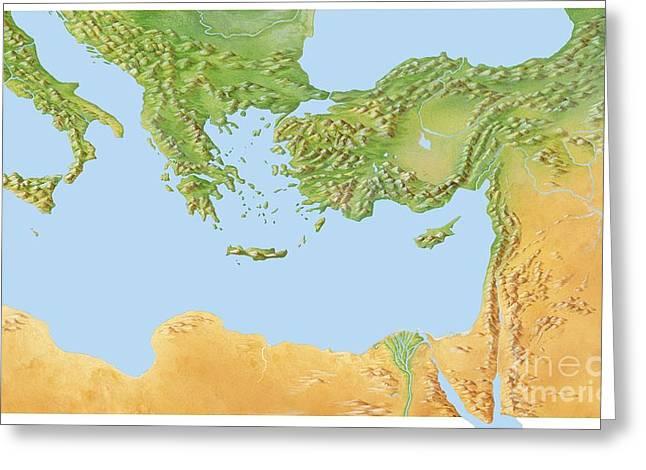 Eastern Mediterranean, Artwork Greeting Card by Gary Hincks