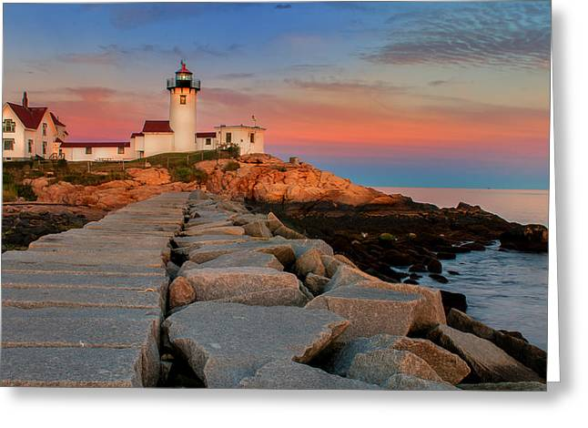 New England Village Greeting Cards - Eastern Point Lighthouse at Sunset Greeting Card by Thomas Schoeller