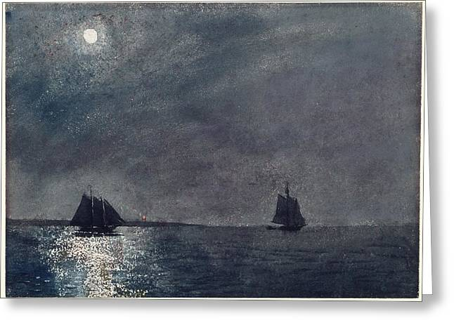 Recently Sold -  - Sailboat Art Greeting Cards - Eastern Point Lighthouse Greeting Card by Winslow Homer