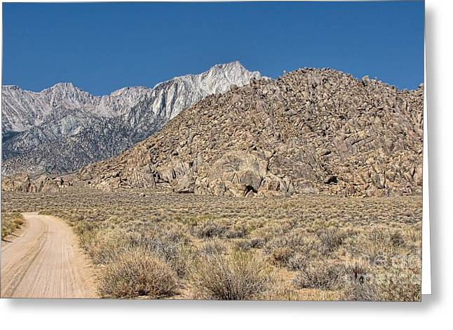 Geology Photographs Greeting Cards - Eastern Sierra Nevadas and the Alabama Hills Greeting Card by Peggy J Hughes