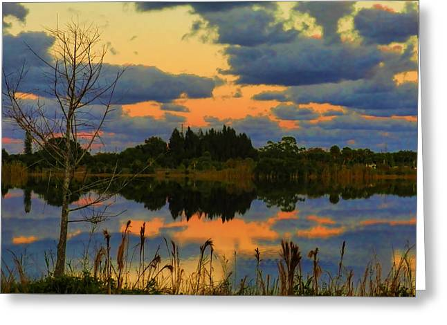 St. Lucie County Greeting Cards - Eastern Sky at Sunset Greeting Card by Grace Dillon