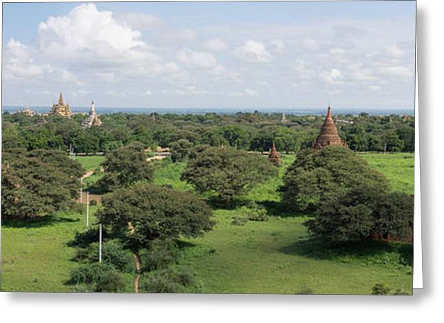 Buddhist Region Greeting Cards - Eastern View Of Stupas And Temples Greeting Card by Panoramic Images