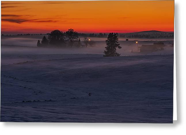 Building. Home Greeting Cards - Eastern Washington Winter Sunset Greeting Card by Mark Kiver
