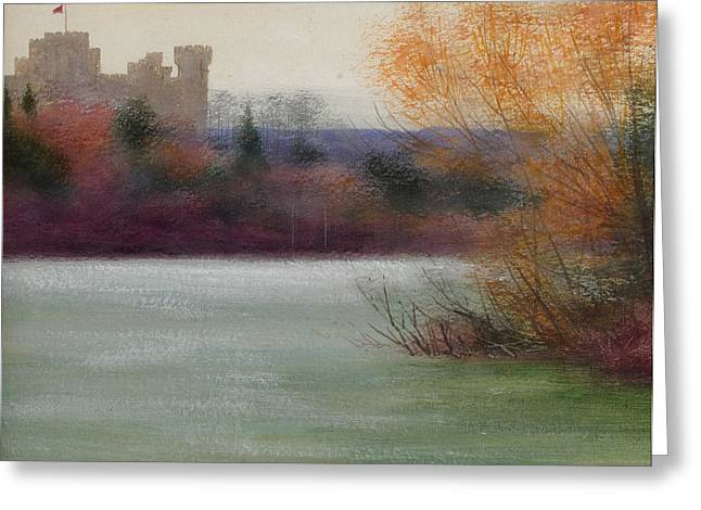 Moat Greeting Cards - Eastnor Castle Greeting Card by Edward Clifford