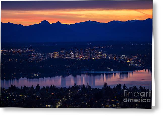 Eastside Bellevue Sunrise Greeting Card by Mike Reid