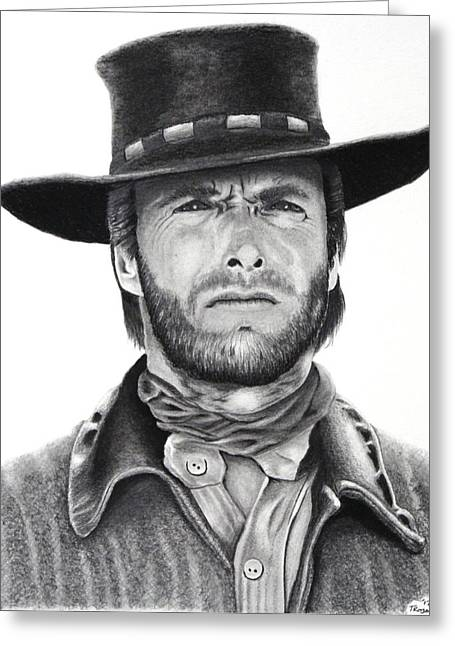 Classic Hollywood Drawings Greeting Cards - Eastwood Greeting Card by Tim Trojan