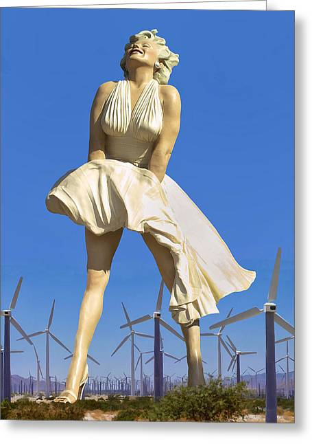 Spring Fashion Greeting Cards - COOL BREEZE MARILYN Palm Springs Greeting Card by William Dey